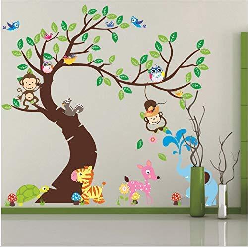 Etiqueta de la pared del árbol y del mono Fondo de la habitación de los niños Etiqueta de la pared Decoración de bricolaje Guardería Guardería Decoración de la habitación del bebé Pvcchristmas (Puerta Para Bebe)