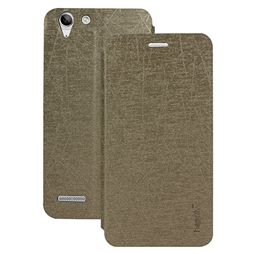 Heartly Premium Luxury PU Leather Flip Stand Back Case Cover For Lenovo Vibe K5 Plus / Lenovo Vibe K5 - Hot Gold