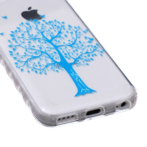 Apple iphone 5c Hülle, iphone 5c Silikon Gel Schutzhülle, Ekakashop iphone 5c Weiche TPU Ultradünn Slim-Fit Smartphone Handyhüllen Tasche Back Cover Bumper, Transparent Crystal Clear Case Schale Etui  Blaue Bäume