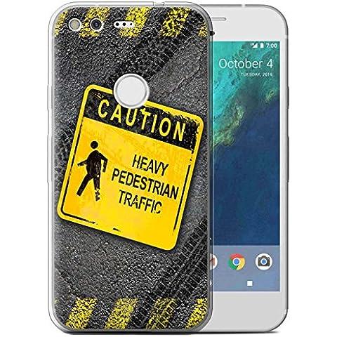 Custodia/Cover/Caso/Cassa Gel/TPU/Prottetiva STUFF4 stampata con il disegno Cartelli Stradali Divertenti per Google Pixel (5.0