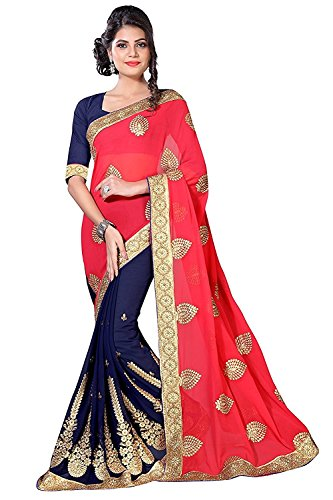 Lajree Designer Women\'s Georgette Saree With Blouse Piece (Saree For Women_Mohinipink, Dark Pink, Free Size)