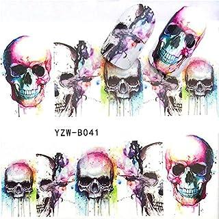 EROSPA® Nailart Nail-Tattoo Totenkopf Schädel Motiv - Nagel Sticker - Aufkleber - 10 Motive - Selbstklebend