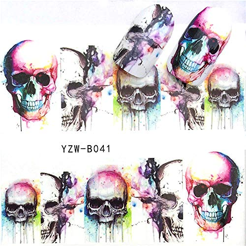 EROSPA® Nailart Nail-Tattoo Totenkopf Schädel Motiv - Nagel Sticker - Aufkleber - 10 Motive - Selbstklebend -