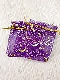 Lot 10 Sacs Organza - Pochettes pour mariage, bijoux, cadeaux, des confettis, 17 cm x 23 cm , trame lune Star , de couleur : Violet