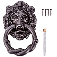 Large Black Antique Lion Front Door Knocker - Fancy & Ornate Iron Head