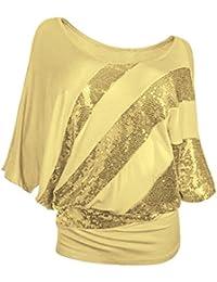 Ladies Kurzarm Rosennie Damen Mode Sexy Rundhals Pailletten Fledermaus T-Shirt  Frauen Casual Tunika Top Bluse Plus Größe Oberteil… d8e9f90aa7