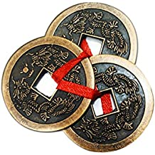 """Divya Mantra Feng Shui Three Lucky Chinese 2"""" Coins with Red Ribbon for Money, Wealth Luck"""