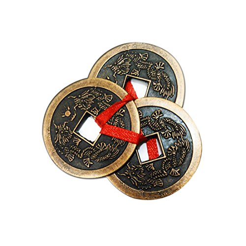 "Divya Mantra Feng Shui Three Lucky Chinese 2"" Coins with Red Ribbon for Money, Wealth Luck"
