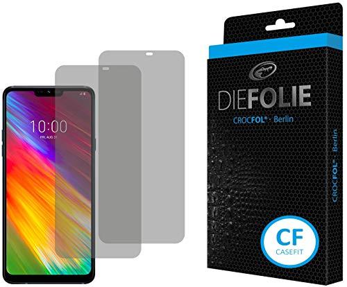 Crocfol Displayschutz für LG G7 Fit: 2X DIEFOLIE Schutzfolie, 1x DASFLÜSSIGGLAS flüssiges Glas - Casefit Folie, Nutzung mit Schutzhülle