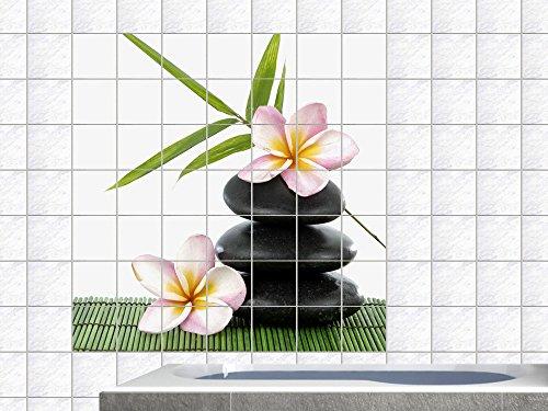 Graz Design 765254_15x20_60_V Fliesenaufkleber Fliesentattoos fr Kche Badfliesen Aufkleber Steine mit Blten Fliesengre 15x20cm (Anzahl Fliesen = 4 breit und 3 hoch)