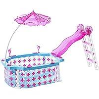 Mattel Barbie Glam Pool Estuche de juego de muñeca - accesorios para muñecas (Estuche de juego de muñeca, 3 año(s), Azul, Rosa, De plástico, 355,6 mm, 279,4 mm)