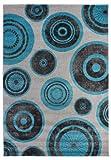 andiamo Teppich Losanga Webteppich, geeignet für den Wohnbereich, Polypropylen, schadstofffrei,  80 x 150 cm in grau/türkis