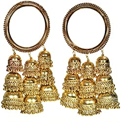 zilleria jhumka bangles kalire for marriage with three jhumkis three layers for womens ang girls (2.4)