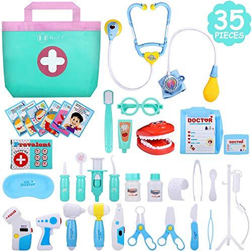 Mädchen Kostüm Zahnarzt - NextX Arzt Medizinisches Spielzeug Kinder 35 Teile Arztkoffer Doktor Spielset Rollenspiel Geschenke für Mädchen und Jungen