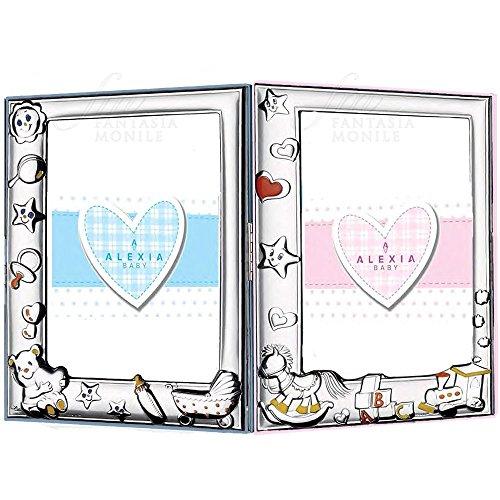 Bilderrahmen Baby Doppel abschließbar Pink und Hellblau Paar Kinder Twins Holz bunt Silber-Bilaminat Alexia ax1105.6cr (Doppel-ax)
