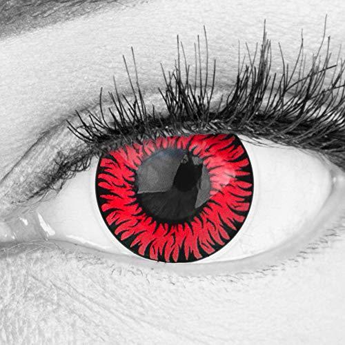 Farbige Rote Kontaktlinsen Anime Werewolf Red Circle Lenses Ohne Stärke Heroes Of Cosplay Stark Deckend Intensive Farben mit gratis Linsenbehälter farbig für Halloween Fasching