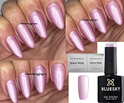 Bluesky 80609 Tundra Pearly Pink Shimmer Aurora collection Nail Gel Polish UV LED Soak Off 10ml PLUS 2 Luvlinail Shine Wipes