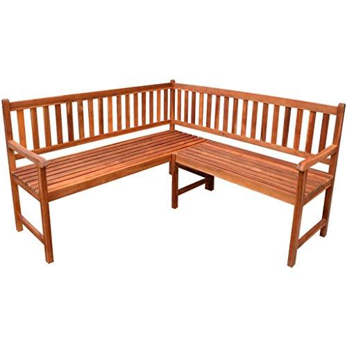 lingjiushopping Banc de jardin d'angle en bois d'acacia dimensions totales : 150 x 150 x 90 cm (L x W x H) bancs d'extérieur