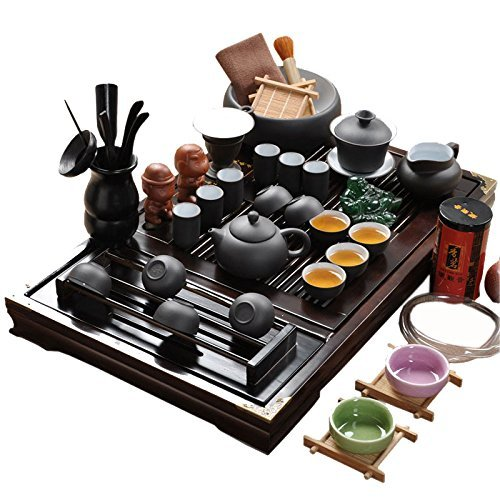 ufengke Chinese Yixing Zisha Tea Set White Inside,Ceramic Kung Fu Purple Clay Tea Set With Wood Tea Tray,For Gift And Household,Office