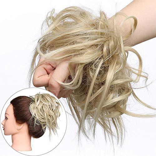 Extension chignon elastico spettinato con capelli ricci finti xxl hair magic bun 45g messy curly coda di cavallo treccia carina - biondo cenere mix biondo chiarissimo