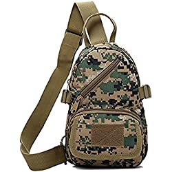 SurprizeMe Men's Small Military Grade Canvas Sling Travel Chest Bag Casual Backpack