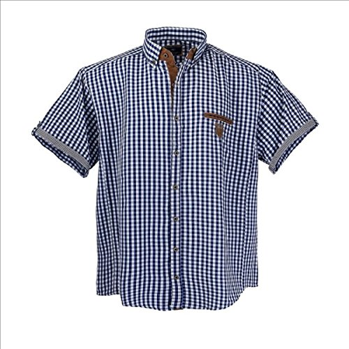 1129 Übergröße Lavecchia Herren kurzarm Hemd Jeansblau-Weiß-kariert Gr. 3-7 XL (7XL) (Kurzarm 7 Karo Hemd)