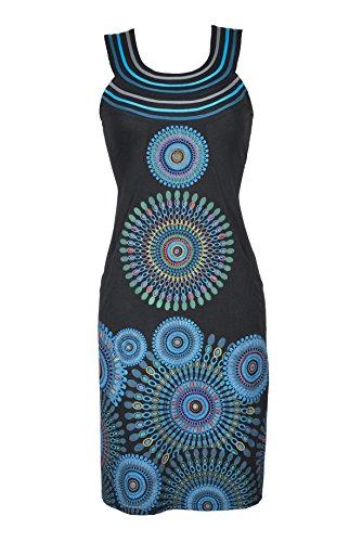 Filosophie Wunderschönes Strandkleid/Urlaubskleid mit Mandala Print und bunten Stickereien - Hippie Chic - 100% Baumwolle - OANA (XXL) (Mandala-prints)