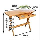 Folding table NAN Klappbarer Beistelltisch, 90 x 50 x 53-71 cm, Faltbarer Bambustisch, Innen- und Außenbereich (Farbe : Arc models)