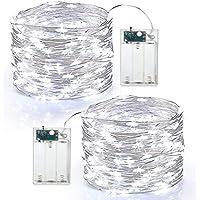 BrizLabs Guirlande Lumineuse à Pile 2 x 60 LED Guirlande Lumineuse Fil d'argent 6M Intérieur et Extérieur Décoration…