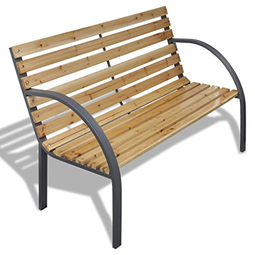 XINGLIEU Eisen Rahmen Gartenbank mit Holz Lamellen Patio Outdoor Möbel