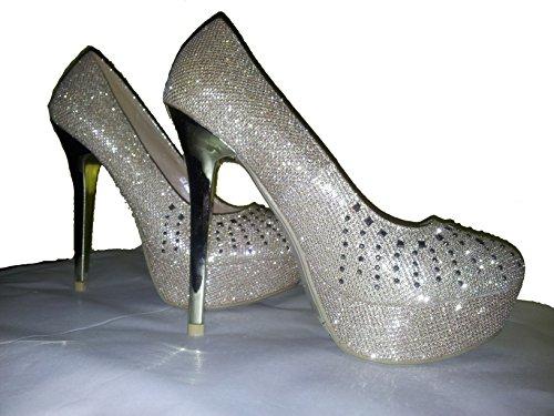 Tacco alto, Stiletto Pumps High Heels, scarpe da donna, modello 1101400102001037, rosso, argento, oliva, azurro e oro, modelli e numeri differenti. Oro.