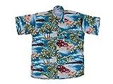 Hawaiihemd Hawai Freizeit Hemd Shirt Viskose türkis Palmen grün Auto rot, Größe:L