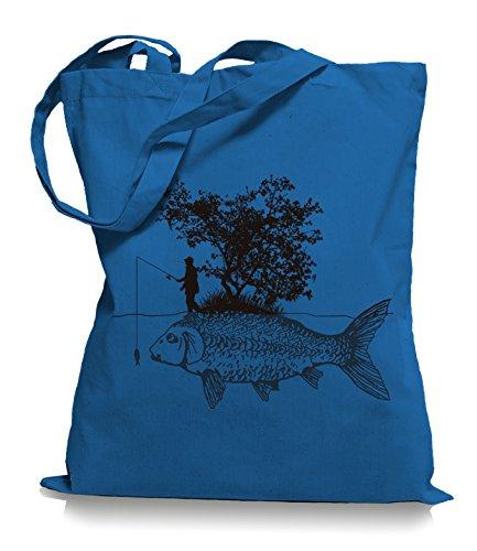Ma2ca® Carp Fishing Angler Stoffbeutel Jutebeutel Tasche Tragetasche / Bag WM101 Cornflower Blue