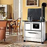 Cucina a legna Nordica Romantica 3,5 acciaio porcellanato colore bianco mm 877x568x856 143 m3
