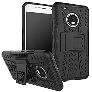Annant Hybrid Military Grade Kick Stand Hard Dual Rugged Armor Hybrid Bumper Back Case Cover For Moto G5 Plus (Black)