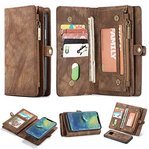 - Brown-leder-handtasche Geldbörse Tasche (Simicoo Mate 20 Pro Leder Schutzhülle mit 11 Kartenfächer Standfunktion Reißverschluss Abnehmbare Magnetverschluss Robuste Silikon Brieftasche Tasche Handtasche für Mate 20 Pro (Brown))