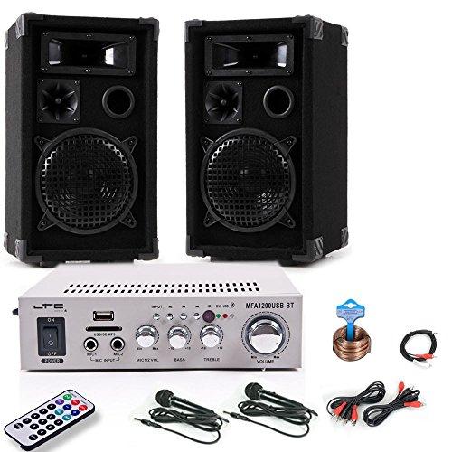 etc-shop 1200W PA Beschallungsanlage Boxen Bluetooth USB MP3 Verstärker 2x Mikrofon DJ-211