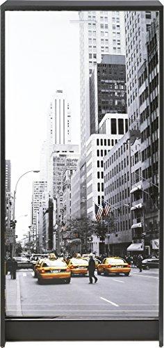 Simmob SHOOT120NO504 Scene New York 504 Meuble à Chaussures avec Rideau Imprimé Bois Noir 36,1 x 58,4 x 121,6 cm