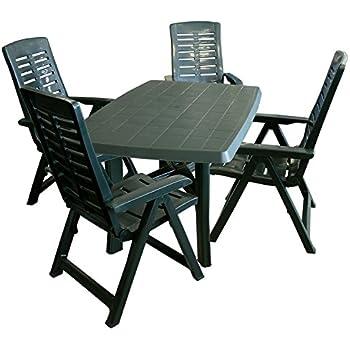 Gartentisch klappbar kunststoff  Amazon.de: 5tlg. Gartenmöbel Set Gartengarnitur Gartentisch ...