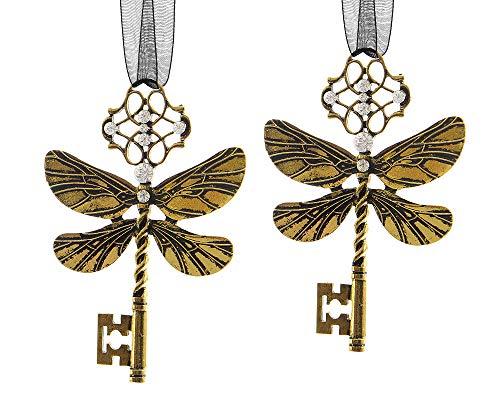 zeitzone Christbaumschmuck Schlüssel Feendrachen Libelle Gold 2 Stück Christbaumanhänger