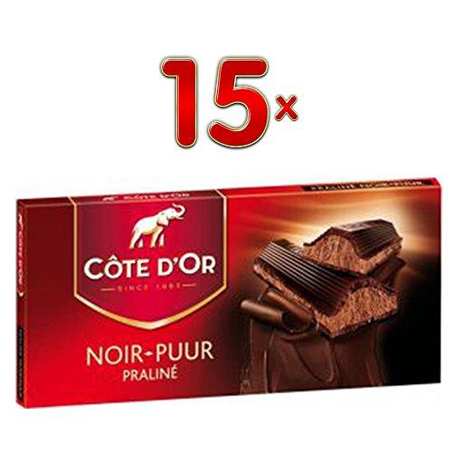 """Côte dà""""r Tabletten Praline Puur, 15 x200g Tafeln (Belgische Zartbitterschokolade mit Pralinenfüllung)"""