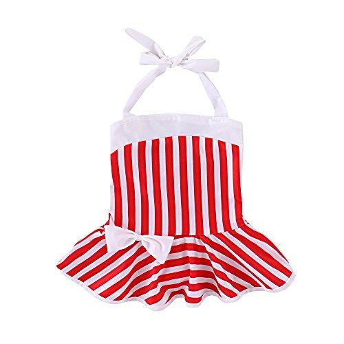 Brightup Baby Mädchen Badeanzüge Rüsche rotes und weißes Gestreiftes Badebekleidungs Schwimmen Kostüm