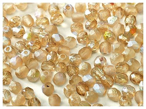 100 Stück Tschechische facettiert Glasperlen Fire-Polished Rund 4mm, Etched Crystal/Lemon Rainbow - Feuer Polnischen Glasperlen Tschechische 4mm