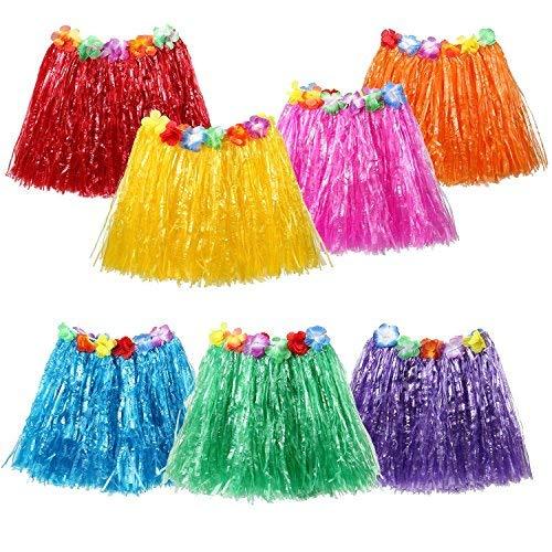 7PCS hawaiische Luau Hula Röcke - Gras Hibiscus Blumen Geburtstags-tropische Partei-Dekorationen begünstigt Versorgungsmaterialien (7 grass skirt)