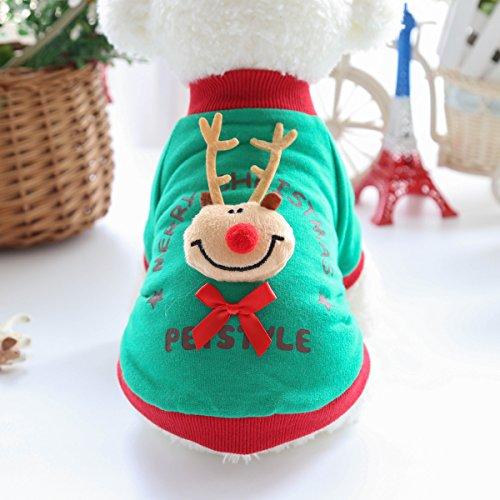 Hund Herbst/Winter-Tier-Kostüm Strickpullover Haustier-Pullover Süße Weihnachts Style, Grün-Male, (Kinder Hund Dalmatiner Welpe Kostüme)