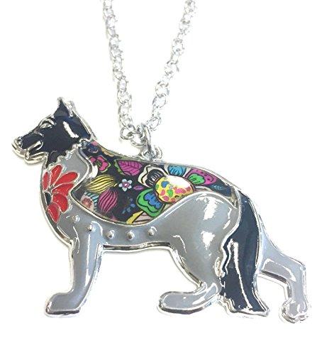 Emaillierter Anhänger Schäferhund mit Kette Halskette mit Anhänger (Schwarz)