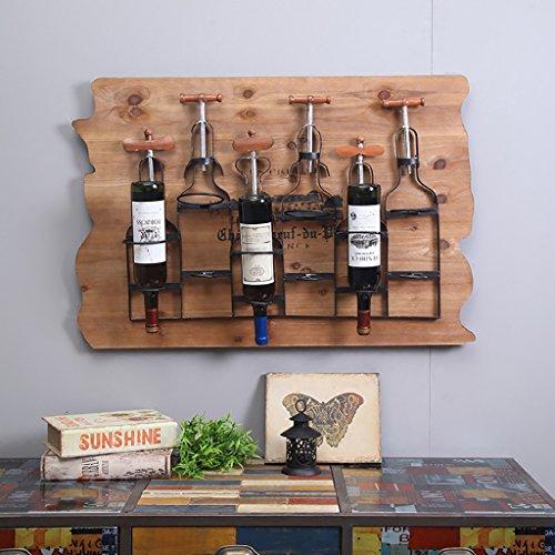 QBDS Caisse de vin de fer forgé de personnalité de rétro, support mural de vin en bois solide créatif, décoration industrielle de mur de Loft Pendentif décoratif