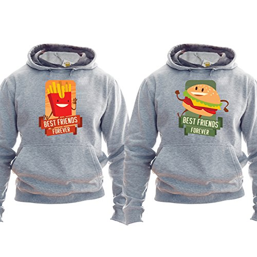 Best Friends Forever Pullover Burger And Fries Hoodie Kapuzenpullover Kapuzenshirt Best Friends Outfit Unisex (Outfit King Burger)