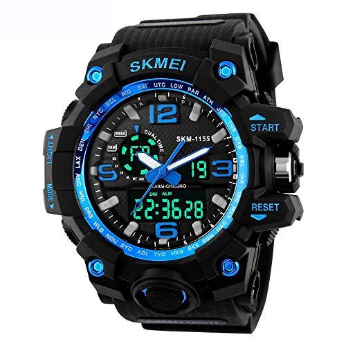 JEAMS Uhren Outdoor Military Sport Digital Armbanduhren Männer Wecker Chrono Wasserdicht 50 Mt Big Dial Elektronische, A