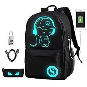 DOLIROX® Cool Boys Girls Outdoor Backpack Anime Luminous Backpack Daypack Shoulder School Bag Laptop Bag (Medium)